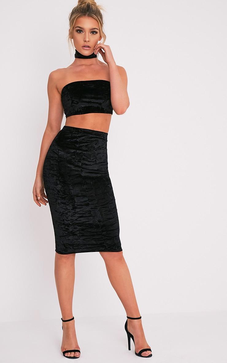Lacy Black Crushed Velvet Midi Skirt 1