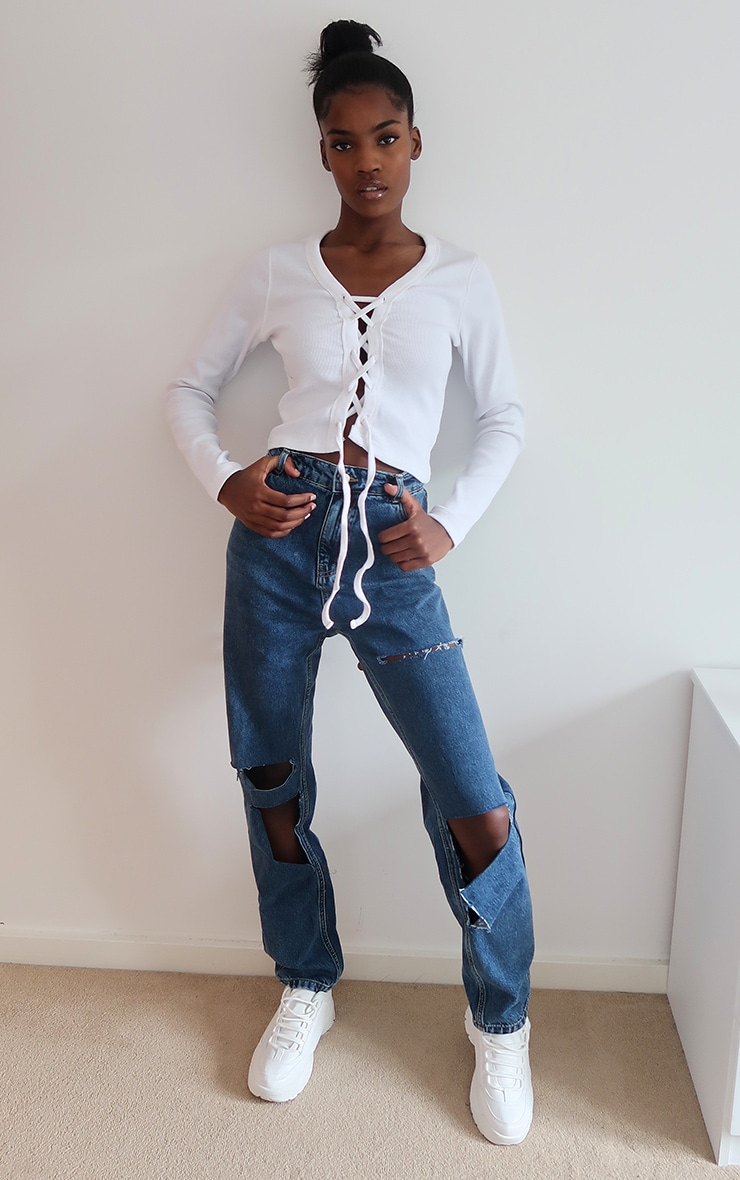 White Thick Rib Lace Up Top 3