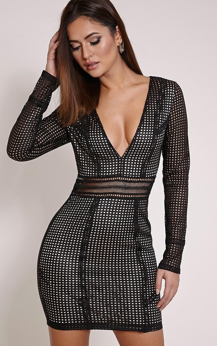 Jamey Black Square Lace Plunge Mini Dress 1