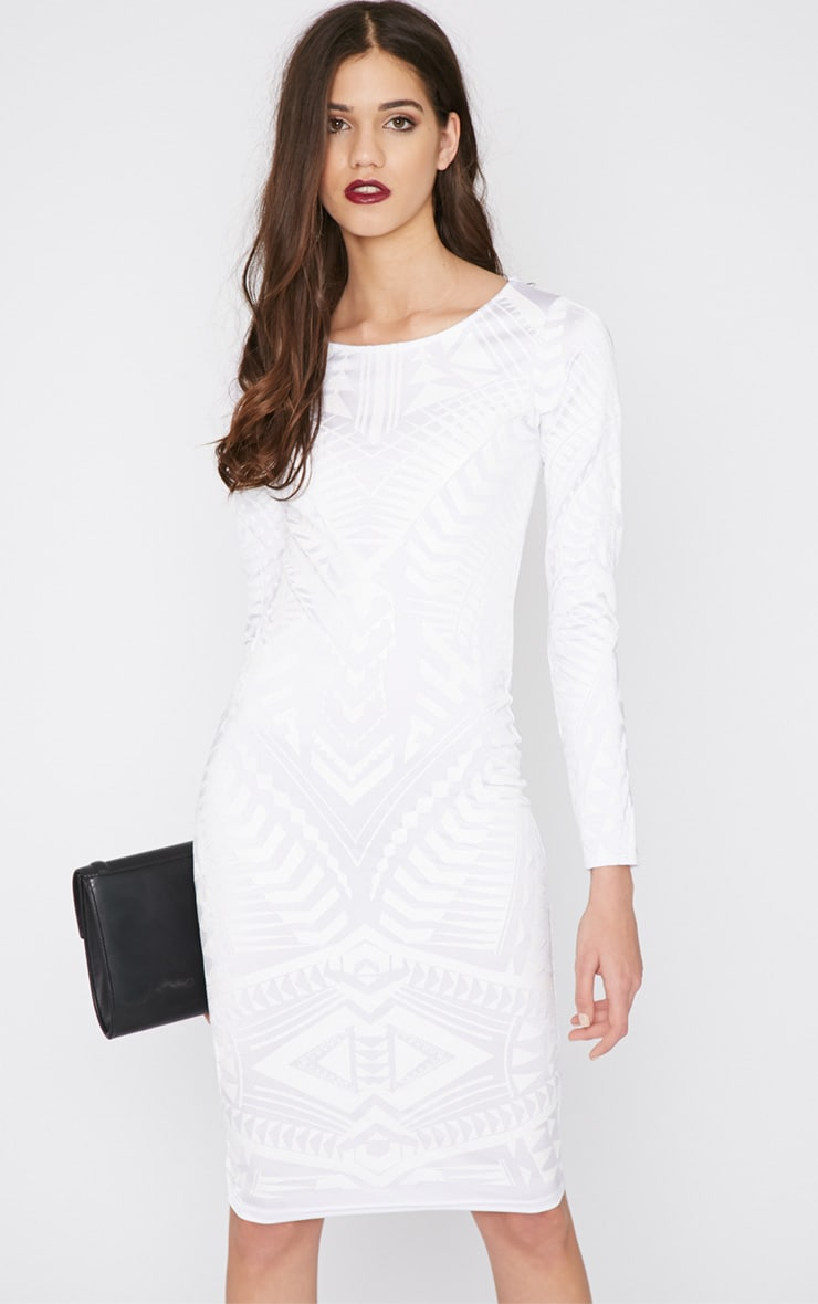 Elodie White Aztec Glitter Print Midi Dress 5