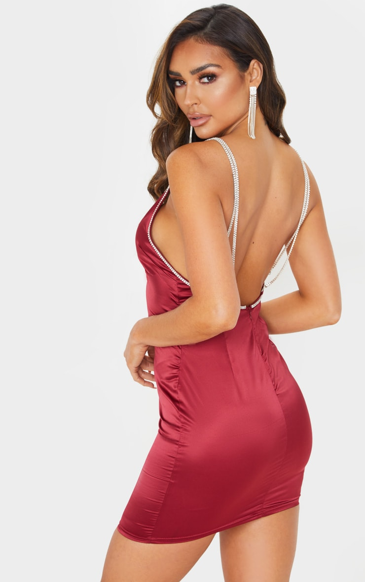Burgundy Diamante Strap Satin Slip Dress 2