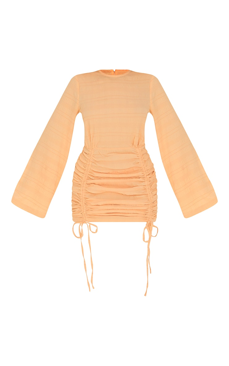 Tangerine Textured Ruched Detail Flare Sleeve Bodycon Dress 5