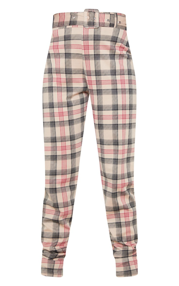Brown Check Belted Skinny Pants 3