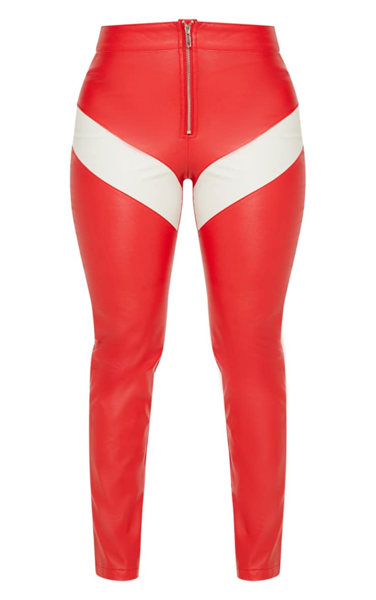 Red Faux Leather Zip Front Panel Detail Straight Leg Pants  3