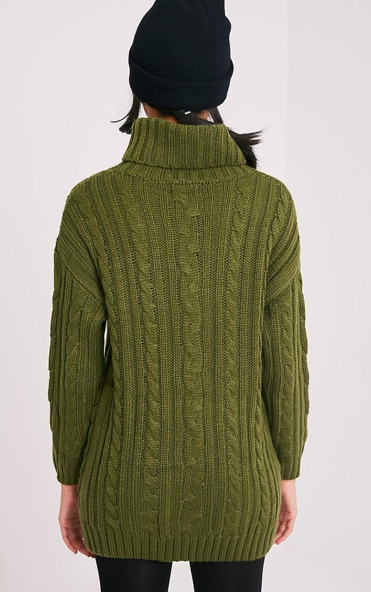 Leilania pull tricoté épais avec anneaux kaki 2