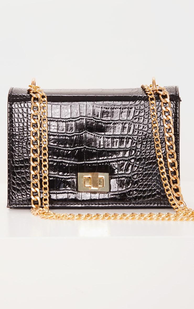 Black Patent Croc Flap Square Cross Body Bag 2