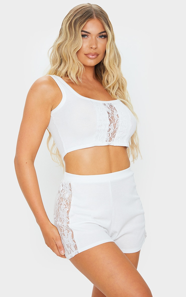 White Lace Panel Cami And Shorts PJ Set 1
