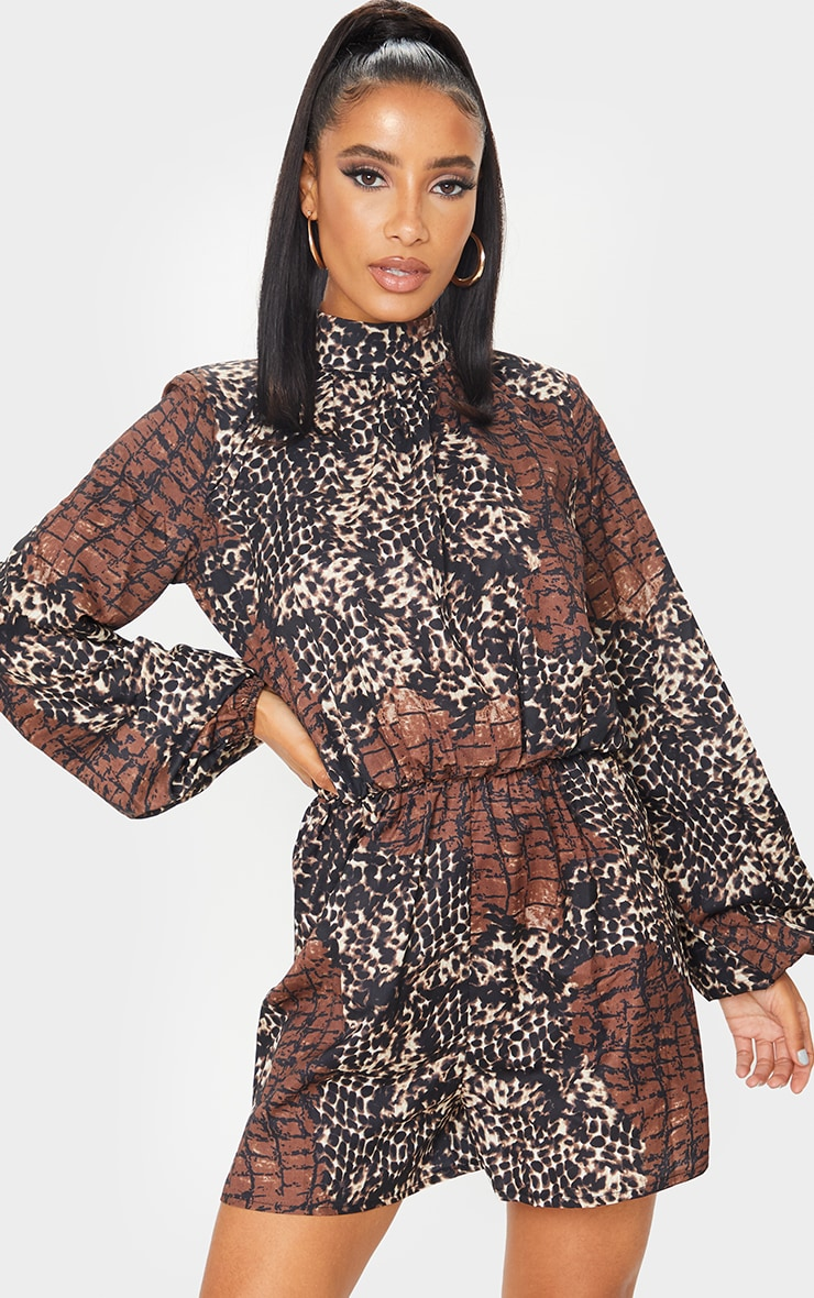 Brown Animal Print High Neck Balloon Sleeve Playsuit 1