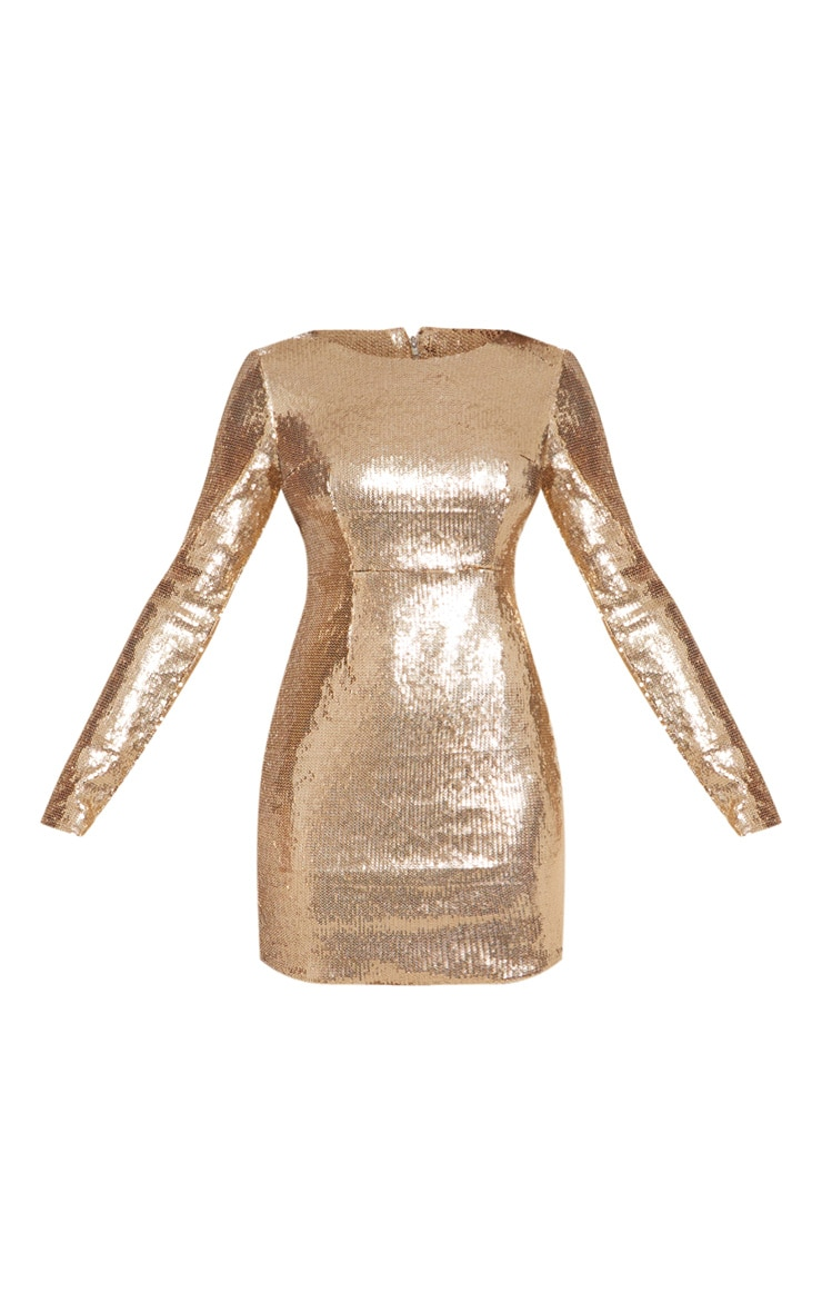 Tall Gold Sequin Long Sleeve Bodycon Dress 3