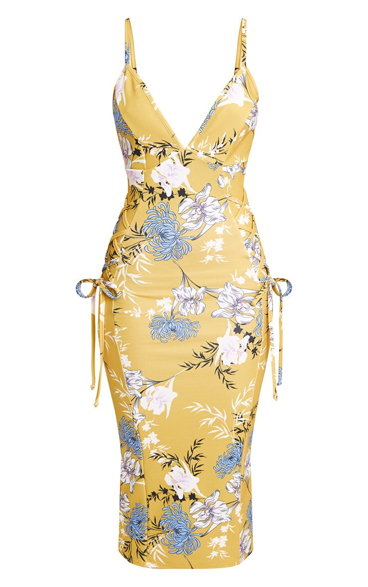 Yellow Floral Lace Up Detail Plunge Midi Dress 3