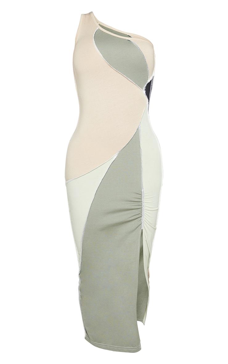 Shape Sage Green Cotton Panel Detail One Shoulder Ruched Midaxi Dress 5