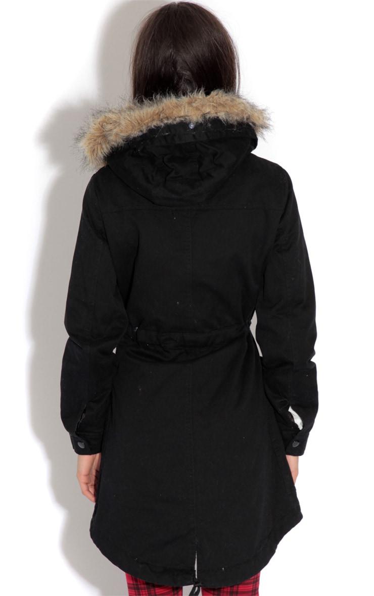 Saskia Black Shearling Parka Coat 6