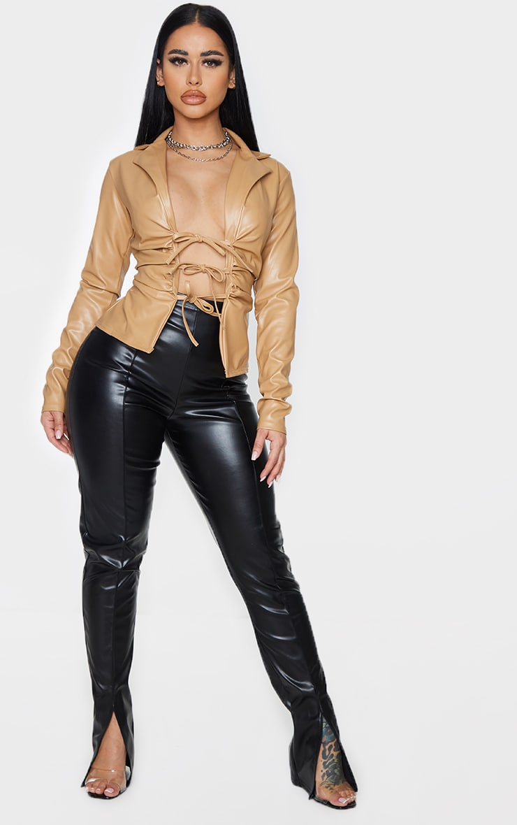 Shape Stone Faux Leather Collar Tie Front Top 4