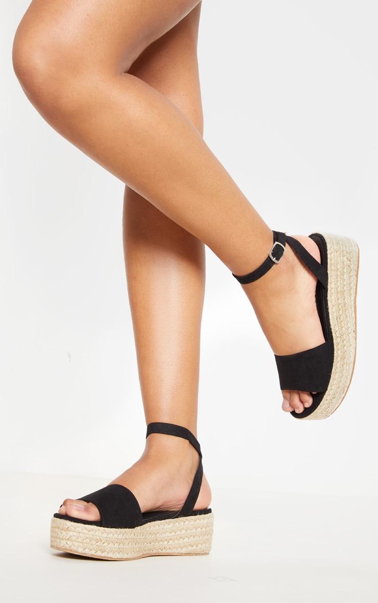 Black Espadrille Flatform Sandal 3
