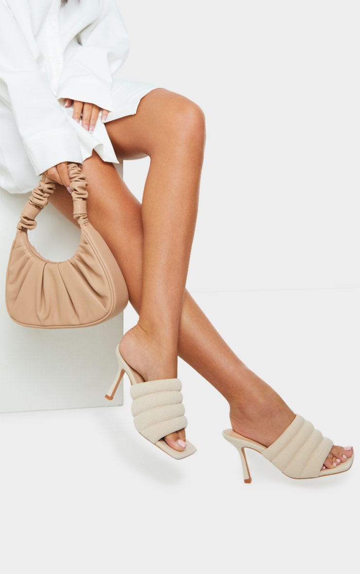 Cream Tube Strap Extreme Square Toe Mule Heels 1