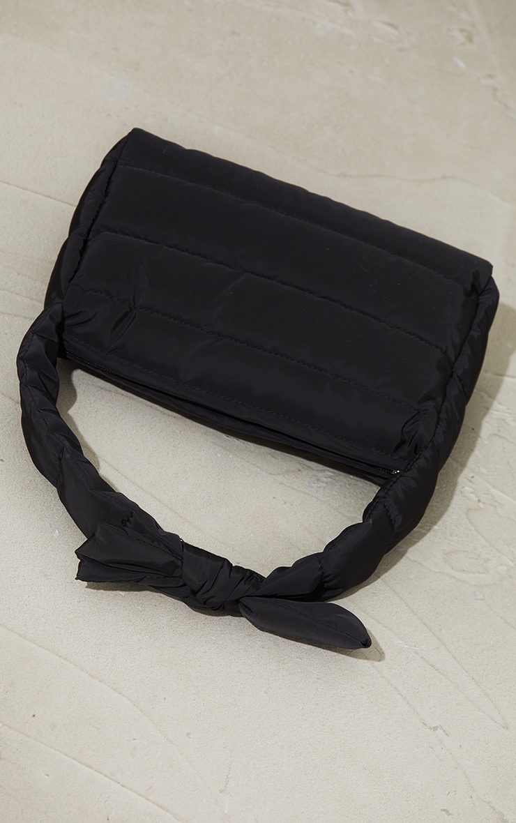 Black Quilted Tie Strap Grab Bag 2
