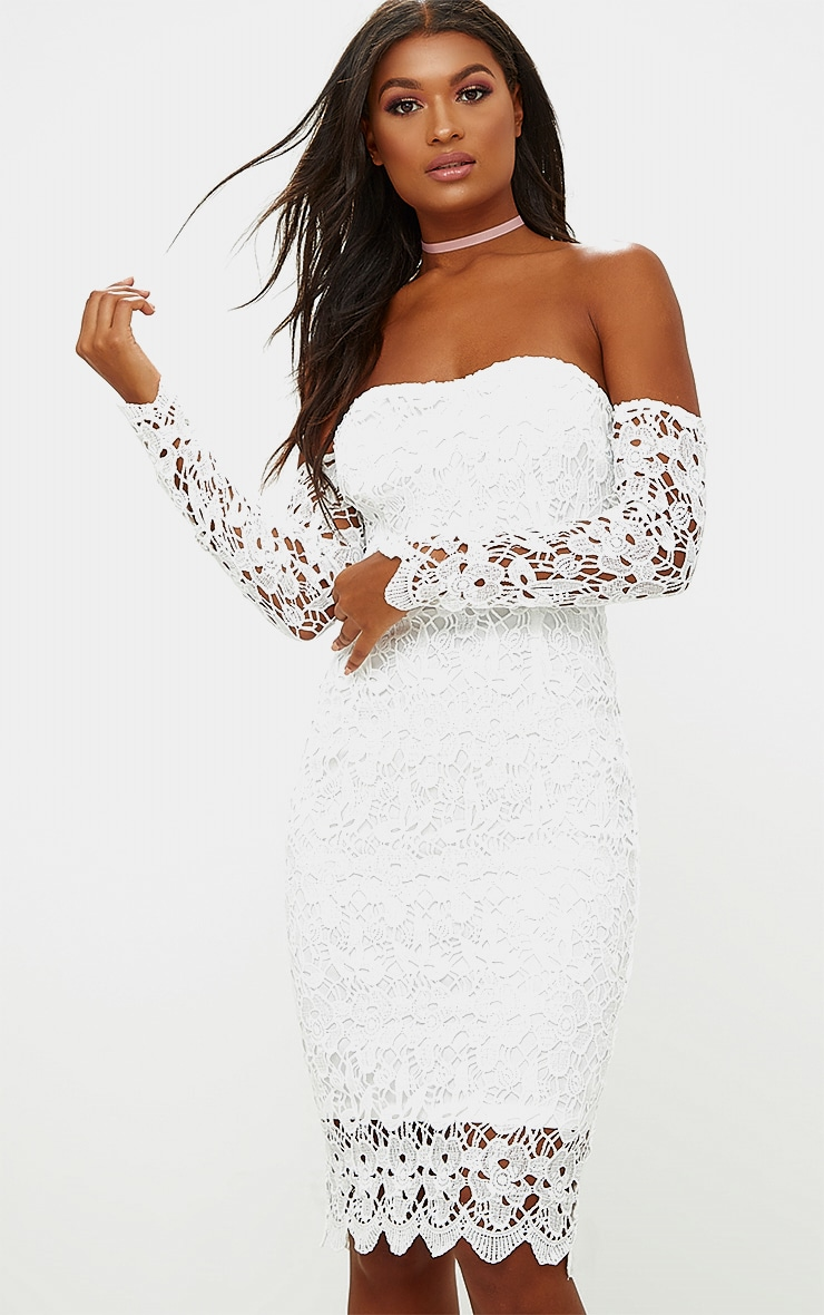 White Lace Bardot Long Sleeved Midi Dress 1
