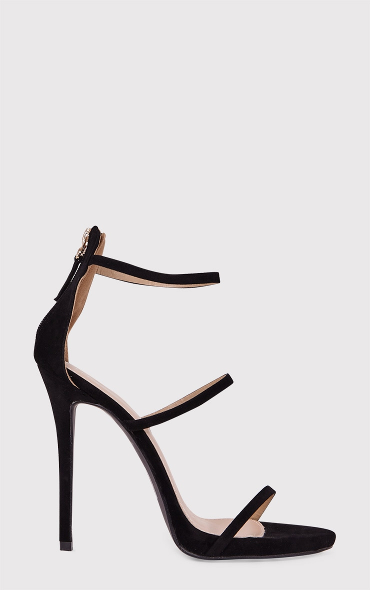 Asara Black Faux Suede Heeled Sandals 1