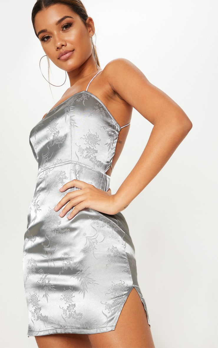 Silver Satin Mixed print Lace Up Back Bodycon Dress 5