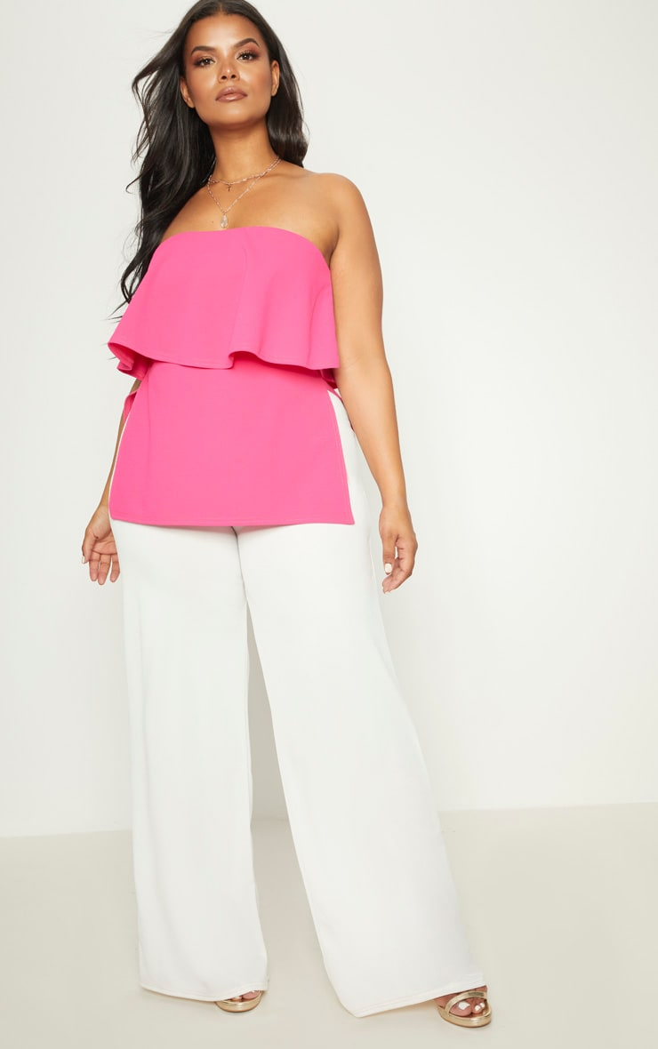 Plus Hot Pink Bandeau Frill Overlay Top 4