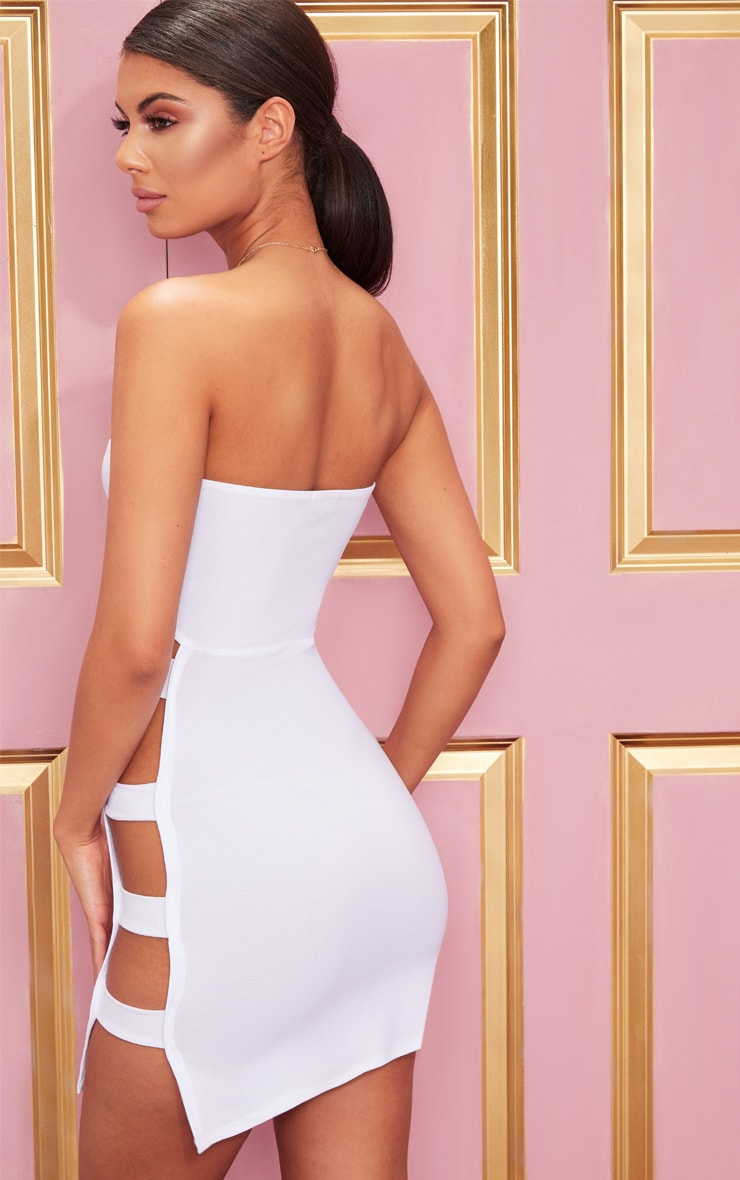 White Crepe Split Side Bandeau Bodycon Dress 2