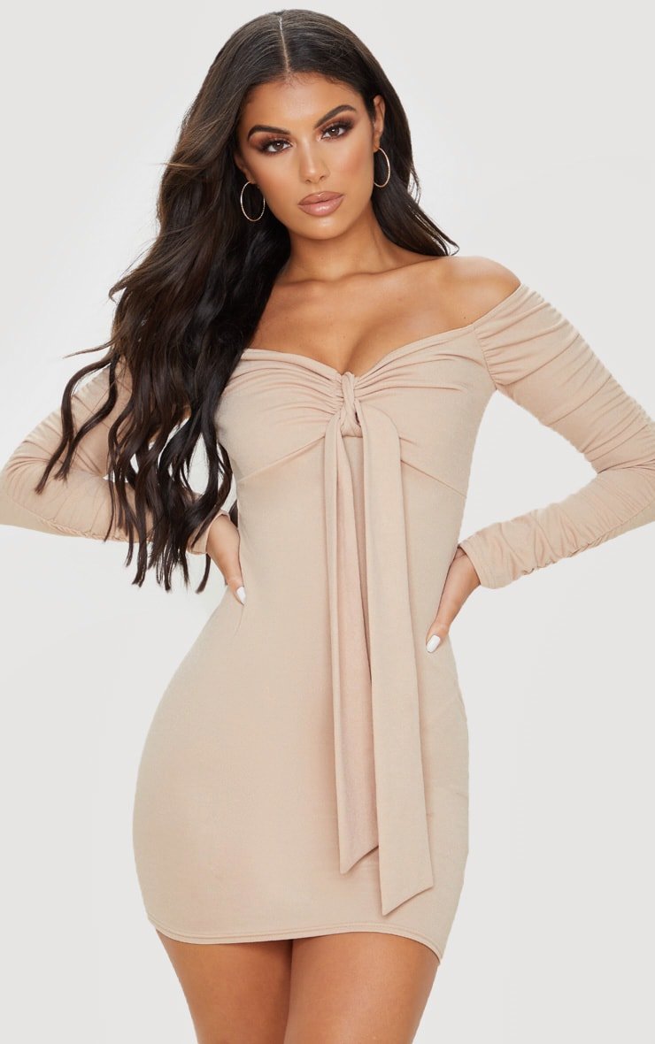 Nude Ruched Arm Tie Front Bodycon Dress 1