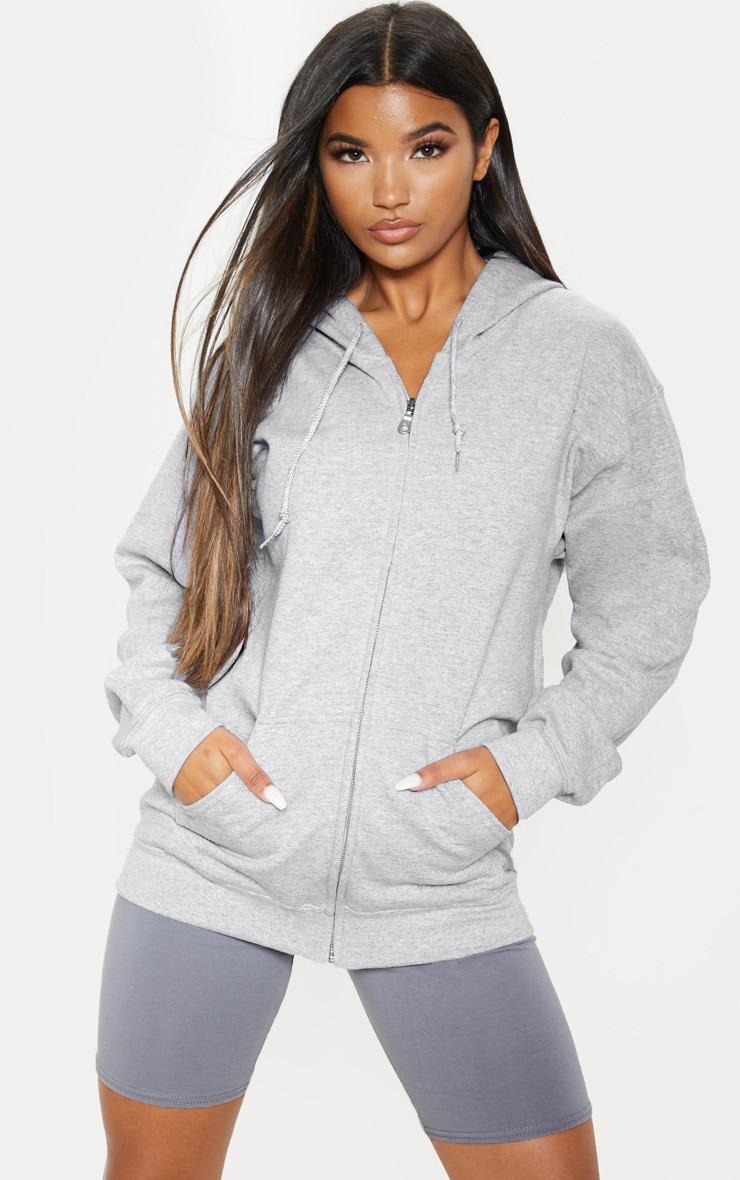 Grey Marl Zip Hoodie 4