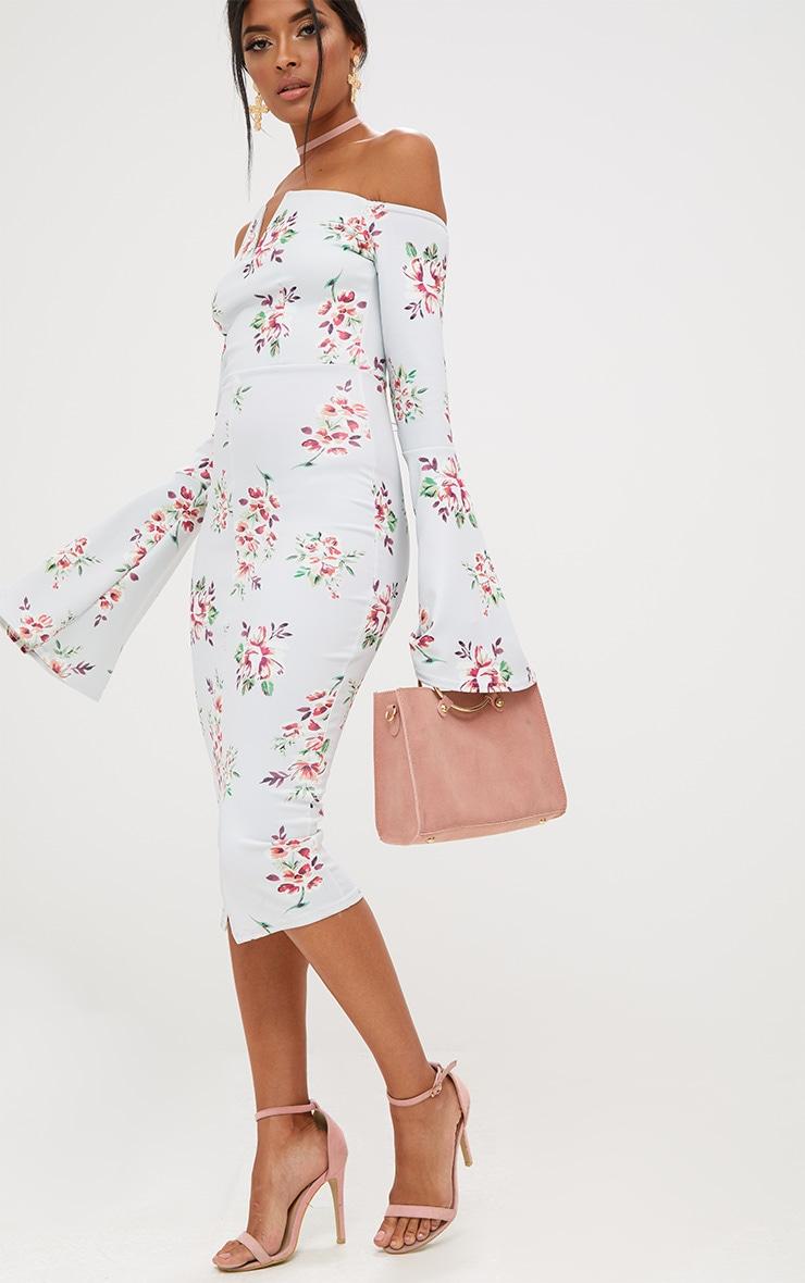 Grey Floral Bardot Flared Sleeve Midi Dress 4
