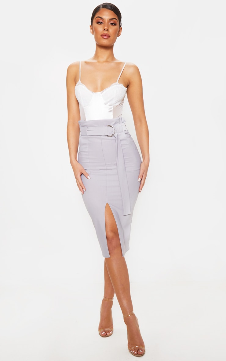 Pale Grey Fine Rib Belted Paperbag Midi Skirt 1