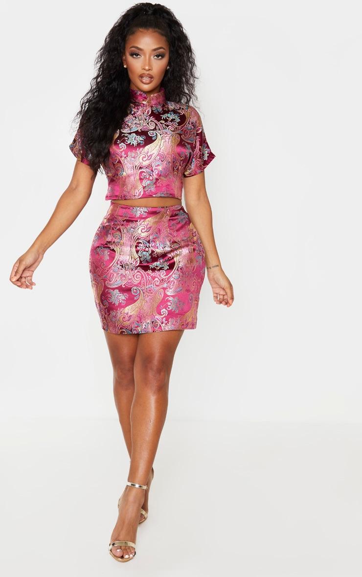Shape Burgundy Oriental Bodycon Skirt 5
