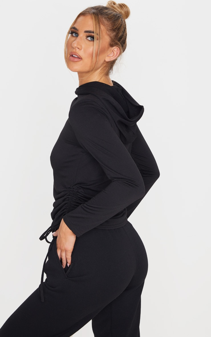 Black Oversized Ruched Side Top 3