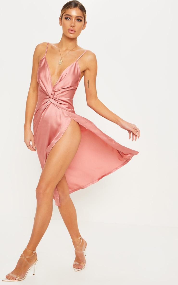Rose Satin Twist Detail Midi Dress 4