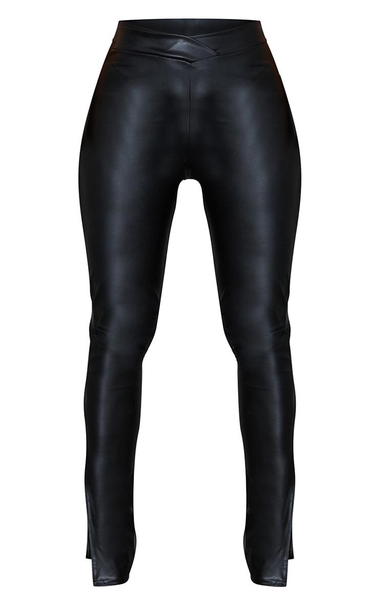 Shape Black PU V Front Ruched Bum Split Hem Pants 5