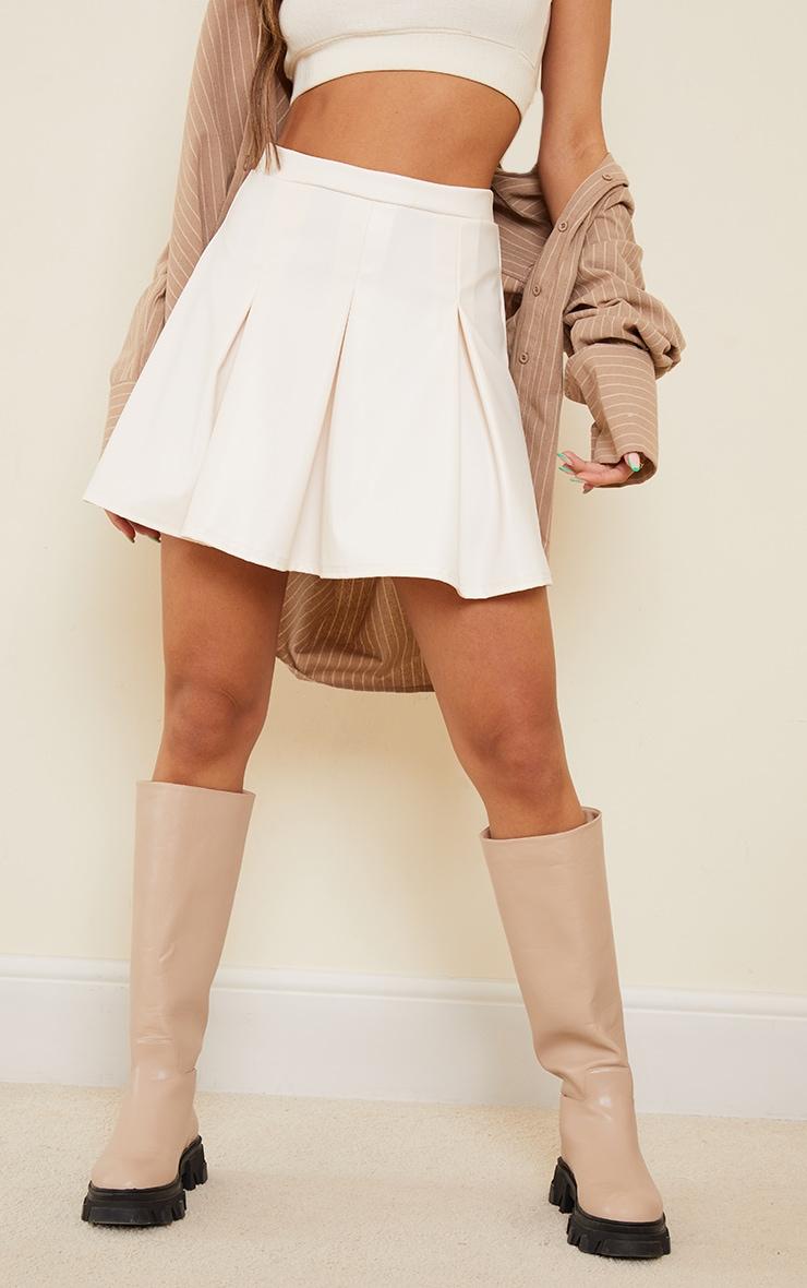 Cream Faux Leather Skater Skirt 2