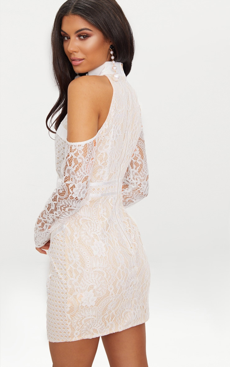 White Cold Shoulder Lace Panelled Bodycon Dress 2