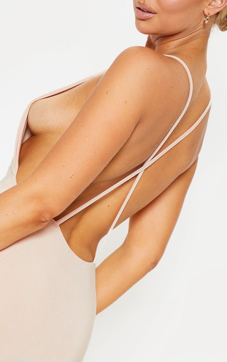 Nude Strappy Slinky Cross Back Midi Dress 5