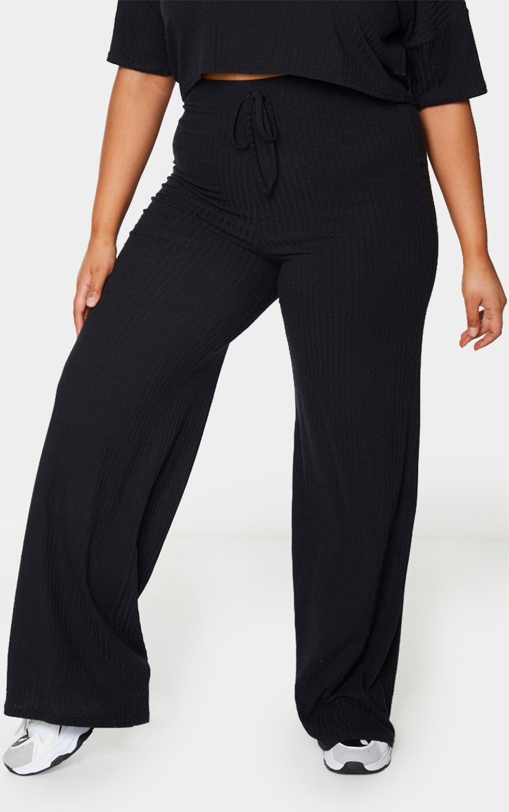 Plus Black Soft Rib Tie Waist Wide Leg Pants 2