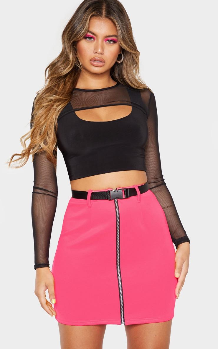 Neon Pink Zip Front Belted Mini Skirt  5