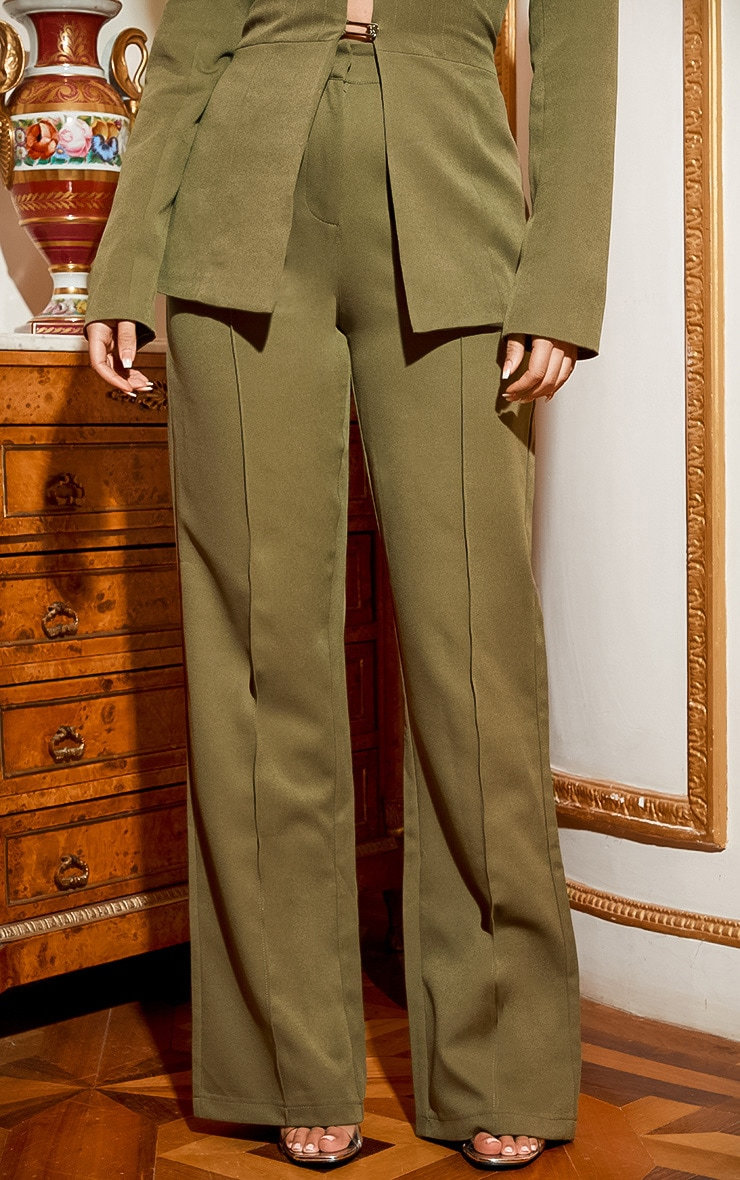Khaki Wide Leg High Waist Trouser 4