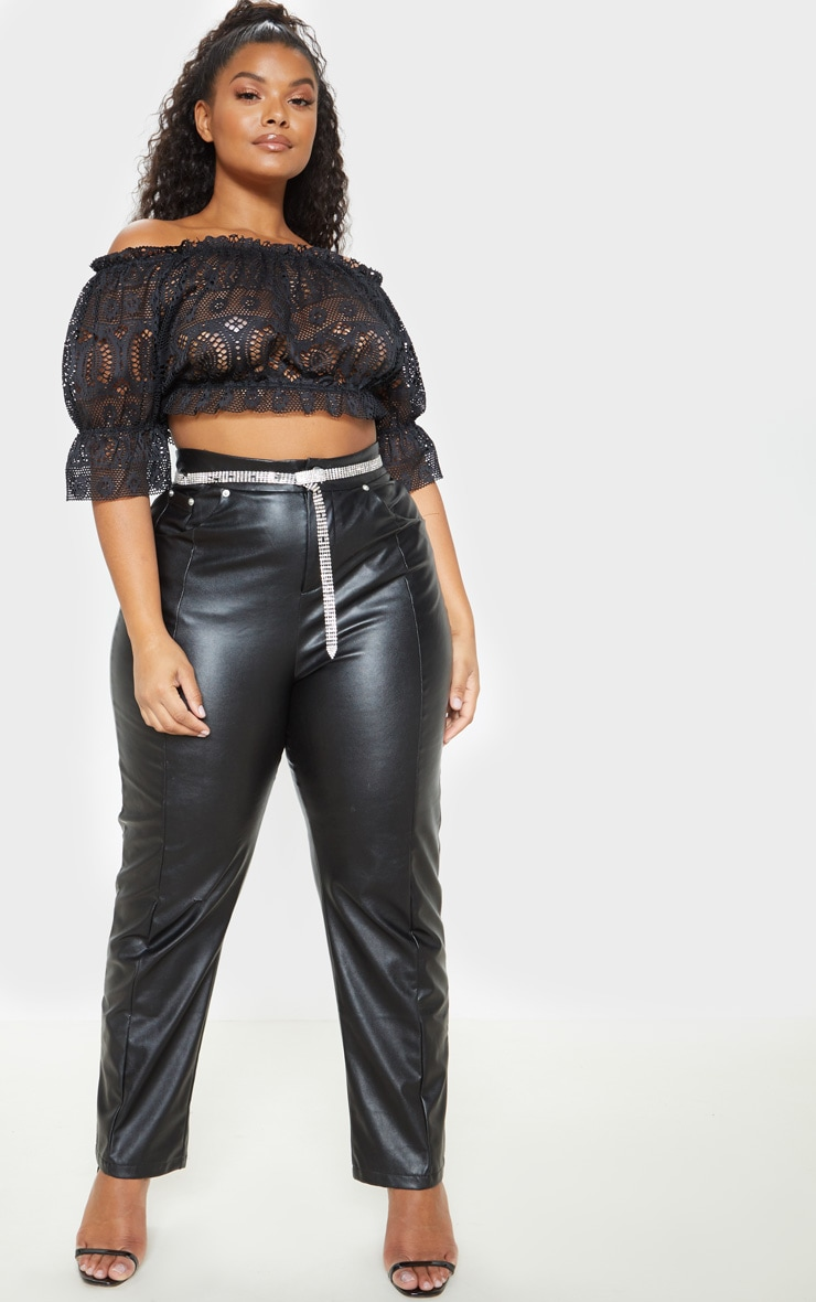 Plus Black Crochet Ruched Bardot Crop Top  3