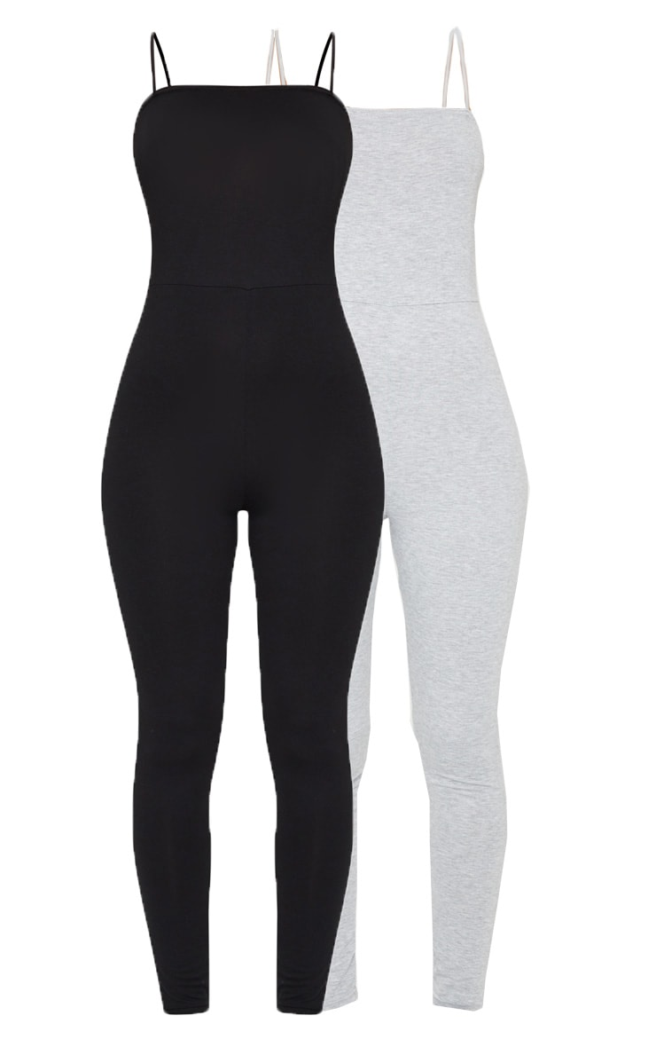 Black & Grey 2 Pack Basic Strappy Jumpsuit 5