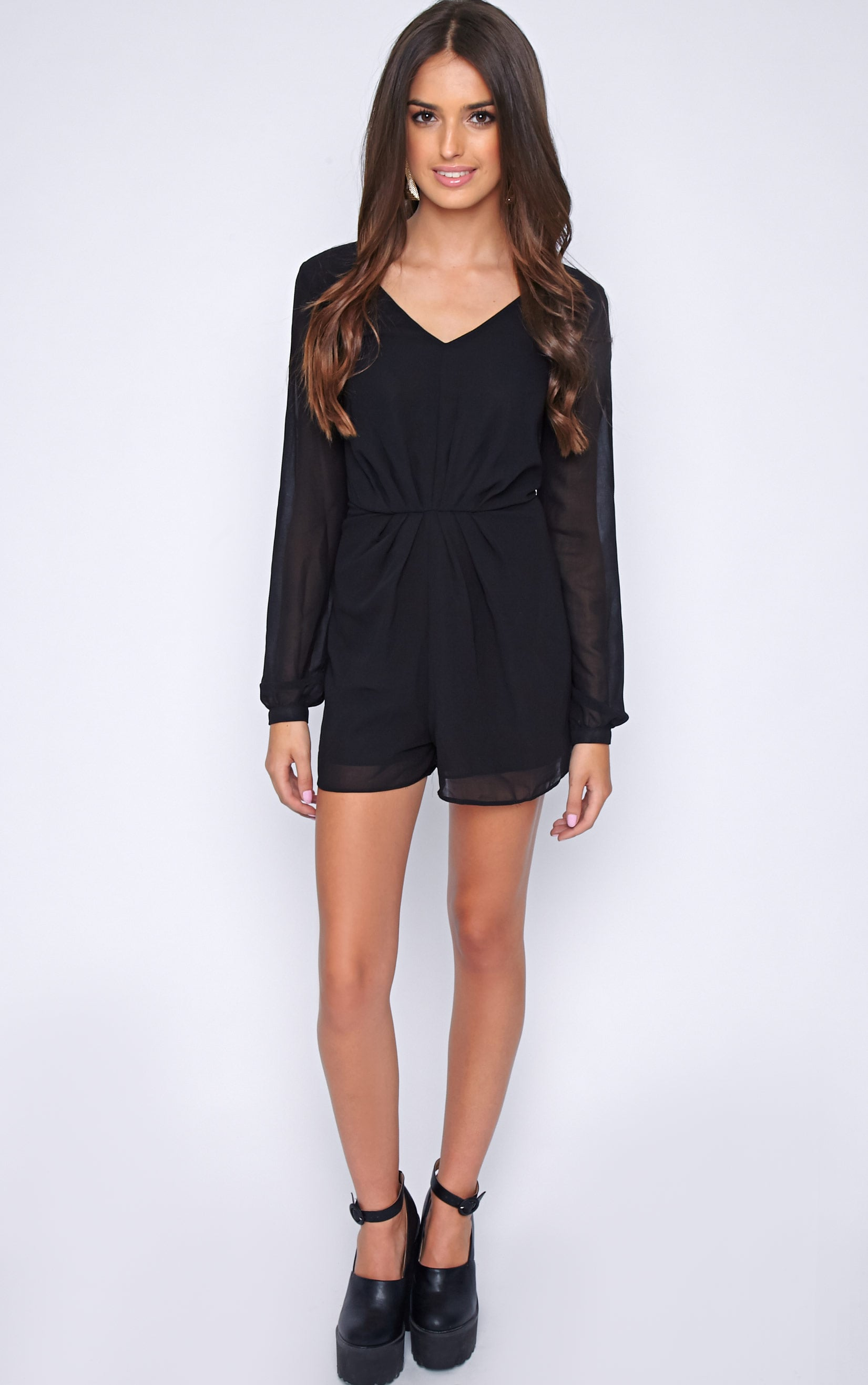 Alexandra Black Chiffon Playsuit 4