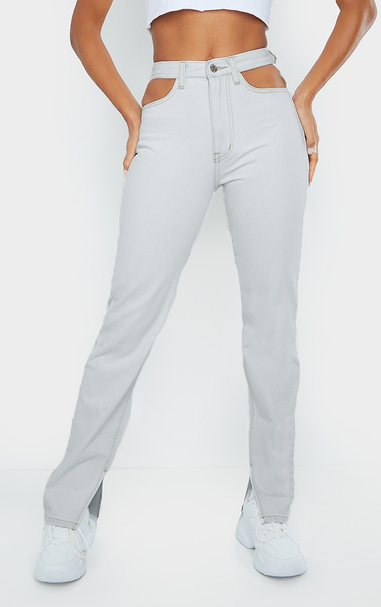 Bleach Wash Cut Out Hip Split Hem Jeans 2