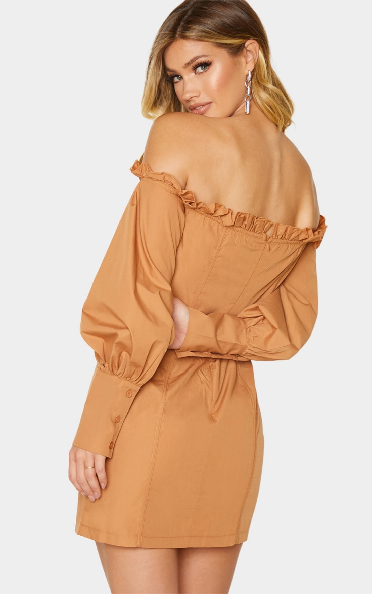 Tan Bardot Ruched Cup Hook & Eye Bodycon Dress 2