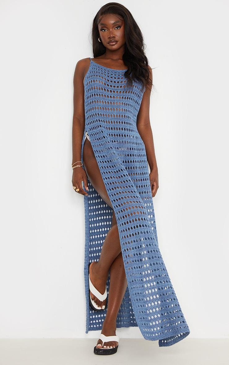Tall - Robe longue en crochet bleu fendue sur les côtés 1