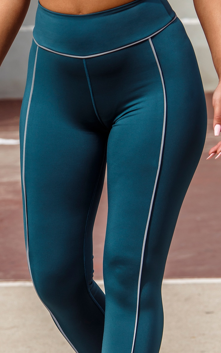Teal Reflective Piping High Waist Gym Legging 5
