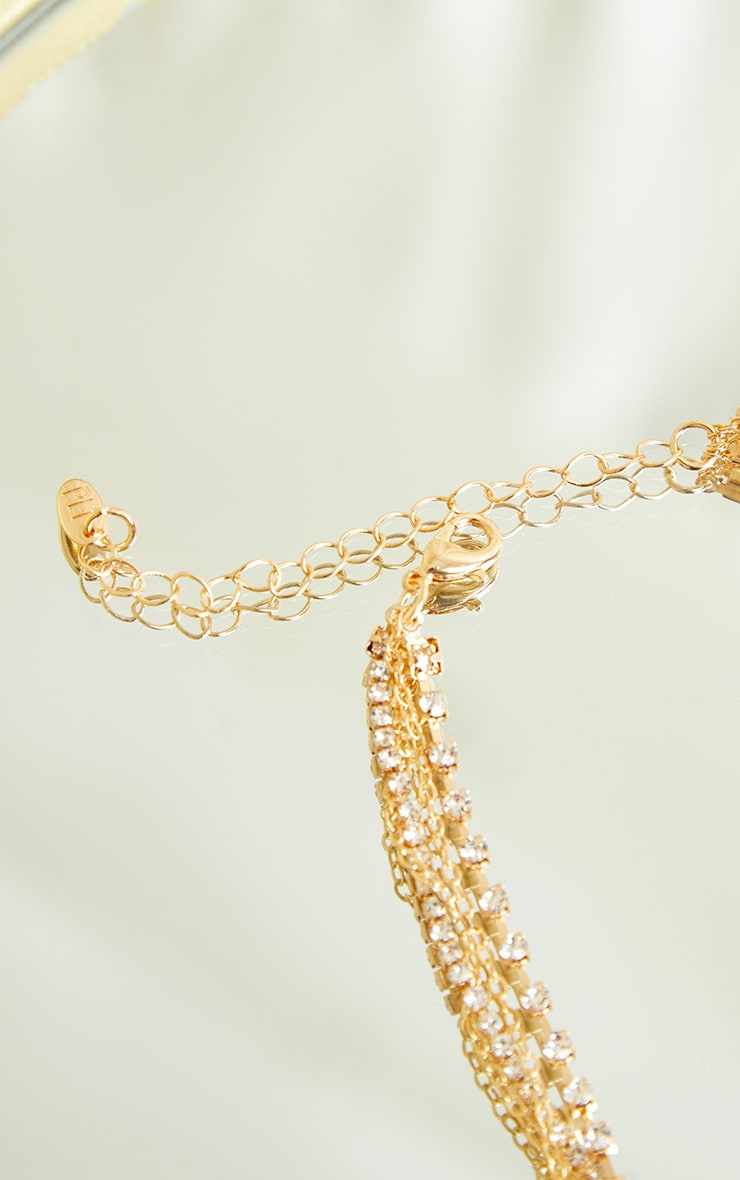 Gold Thin Diamante Layering Chain Necklace 4