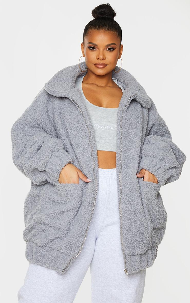 Plus Grey Oversized Borg Pocket Front Coat 1