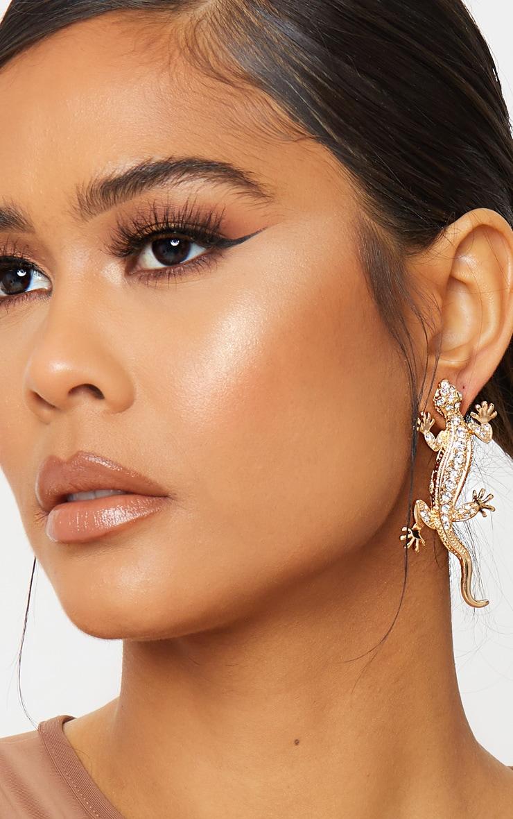 Gold Lizard Silver Diamante Earrings 1