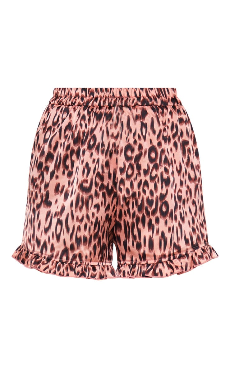 Nude Leopard Frill Trim High Waisted Shorts 3
